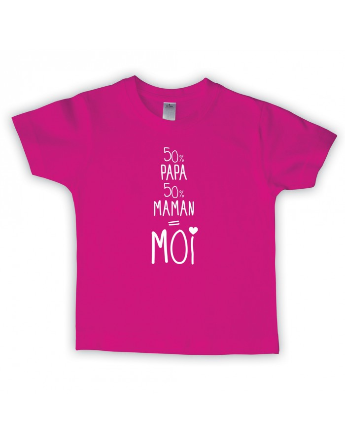 t shirt enfant 50 papa 50 maman bubble gum. Black Bedroom Furniture Sets. Home Design Ideas