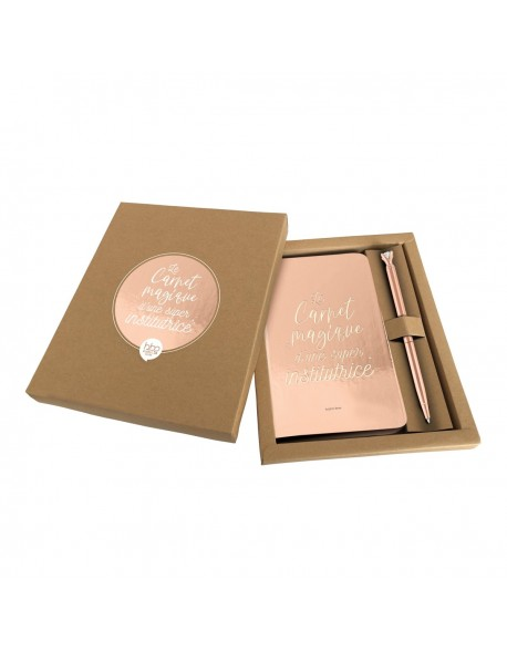 Coffret carnet + stylo or rose - Le carnet magique d'une super institutrice