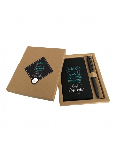 Coffret carnet + stylo noir - Instituteur formidable