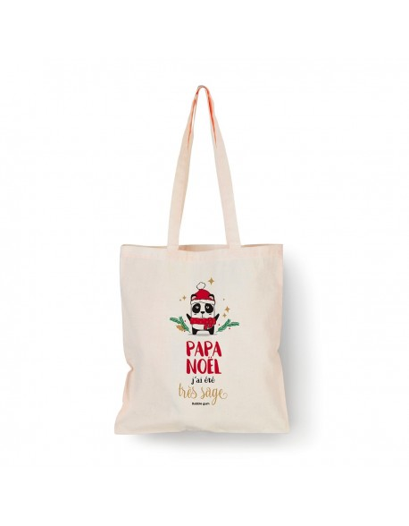 Tote bag Naturel Panda Noël