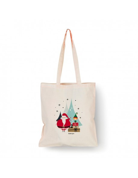 Tote bag Naturel Père Noël sapins