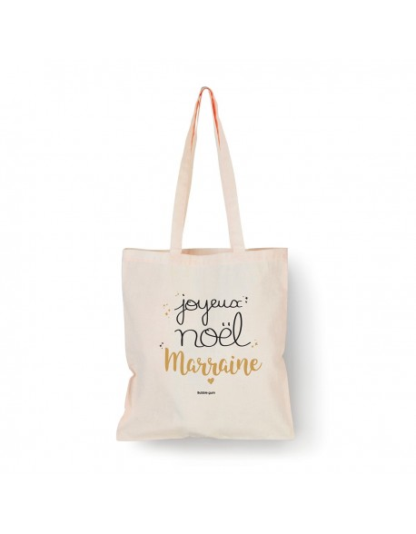 Tote bag Naturel Joyeux Noël Marraine