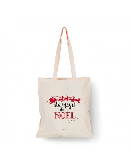 Tote bag Naturel La magie de Noël traineau