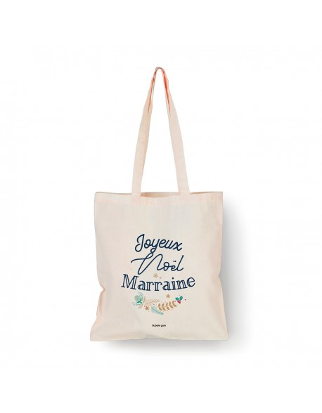 Tote bag Naturel Joyeux noël Marraine Houx